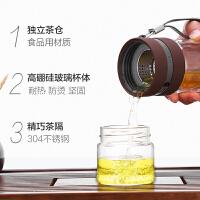 品牌双层玻璃杯茶杯创意随手杯过滤杯子男水杯便携茶水分离泡茶杯