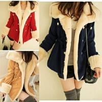 冬装加厚加棉甜美学院风毛呢外套少女短款双排扣可爱学生妮子大衣