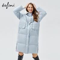 伊芙丽新款外套冬装宽松白鸭绒大衣中长款连帽羽绒服女1AA980681