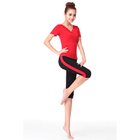 广场舞服装瑜伽服女健身服套装舞蹈练功服短袖双V领夏季新款