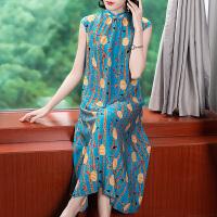 2019春夏新款重磅真丝连衣裙桑蚕丝仙女超仙甜美韩版旗袍裙 ZS-8002蓝色