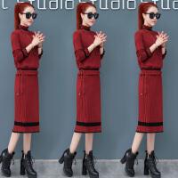 针织连衣裙秋装女冬季新款韩版中长款毛衣配裙子两件套装裙子