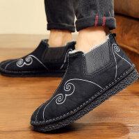 冬季加绒保暖洒鞋老北京布鞋男中国风青年祥云刺绣棉靴复古棉鞋子