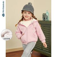 迷你巴拉巴拉儿童外套女童加绒便服2019冬装新款连帽廓形童装衣服
