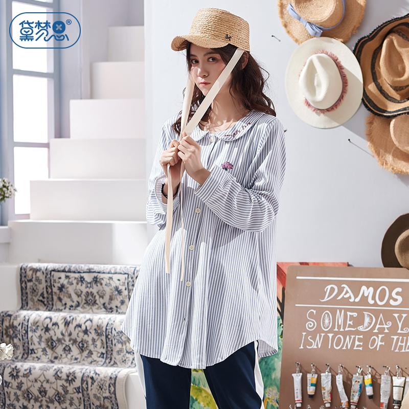 黛梦思 春秋纯棉女士睡衣可爱休闲少女长袖家居服韩版条纹开衫套装
