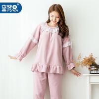 黛梦思 睡衣女冬季加厚长袖珊瑚绒家居服韩版甜美公主法兰绒睡衣女