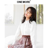 【2件3折】ONE MORE2019春装新款花边立领衬衫女白色长袖薄款女上衣纯棉衬衣