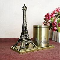 电镀金属工艺品 法国埃菲尔铁塔纪念物 铁塔笔筒三色A 18*9*19.5CM