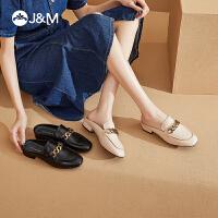 jm快乐玛丽拖鞋女2021夏季新款平底休闲一脚蹬半拖穆勒鞋凉鞋外穿