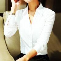 春装新品V领ol长袖气质职业女式衬衣修身收腰时尚打底白色衬衫女