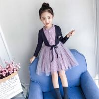 儿童长袖连衣裙秋季2018新款韩版洋气假两件女孩网纱裙子