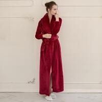 男女情侣超长加长款加厚珊瑚绒法兰绒大码睡袍浴袍睡衣家居服 S 158-165身高