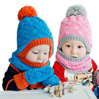 【3件85折:40.8】KK树6-12个月婴儿帽子冬1-2岁宝宝帽子围巾两件套保暖毛线帽