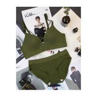 日系少女运动无痕无钢圈性感绑带性感内衣海军风绿色文胸套装薄款
