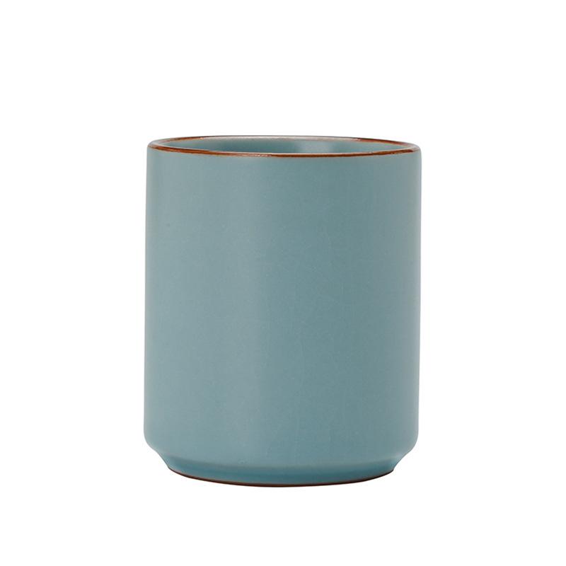 茶杯陶瓷汝窑个人杯主人杯青瓷功夫茶具套装直杯单杯大号开片可养