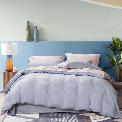 富安娜出品 圣之花磨毛四件套 格纹纯色床单枕套被套套件