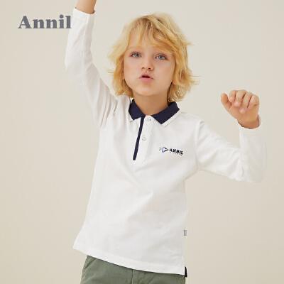 【活动价:125】安奈儿童装男童长袖T恤2020春季新款男宝宝中大童翻领POLO衫上衣 面料柔软亲肤透气,环保印染,不易褪色
