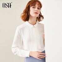 【折后叠券价:174】OSA欧莎白色女士衬衫设计感小众上衣2020年新款春季衬衣时尚小衫