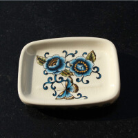 20190305044630865美式乡村陶瓷彩绘肥皂盒欧式创意香皂碟洗手盆肥皂碟带沥水孔