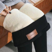 特厚羊羔绒打底裤女外穿冬季加绒加厚超厚高腰弹力一体保暖裤棉裤 M 80-100斤