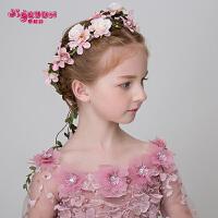 儿童花环头花发饰头饰森女手工发箍唯美花环粉色女孩演出饰品