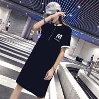 连衣裙女夏2019新款韩版宽松显瘦短袖中长款运动休闲直筒T恤裙潮 黑色
