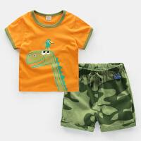 男童短袖运动套装棉2018新款夏装童装宝宝儿童夏季衣服小童1岁3 乳白色 U5677橘色T迷彩裤