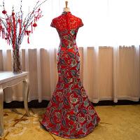 晚礼服2018长款红色新娘旗袍结婚敬酒服修身显瘦鱼尾主持宴会晚装 红色 拉链款
