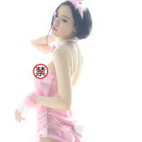 粉色可爱兔女郎吊带制服诱惑sao 情趣内衣性感连体露背套装 精装粉色兔女郎 均码