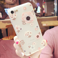 iphone8手机壳X 苹果7plus超薄浮雕花6S保护套子潮女款外壳挂脖绳