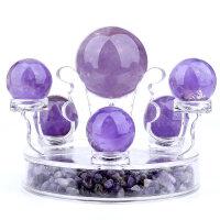 天然黄水晶球七星阵摆件紫水晶风水开运球白水晶开业家居*