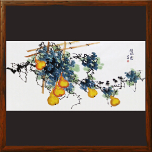 横幅葫芦《福禄图》刘金瑞 R4797 陕西国画院特聘画家 美协会员 一级美术师