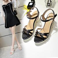 新款女鞋粗跟凉鞋女高跟鞋夏季仙女风一字扣中跟学生韩版百搭鱼嘴