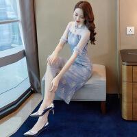 蕾丝连衣裙夏装2019新款女装气质女神范中长款法式复古裙过膝很仙 浅蓝