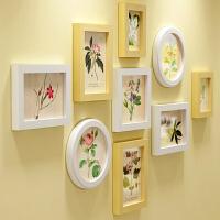 木质相框客厅卧室圆照片墙相框墙欧式儿童挂墙相框创意组合