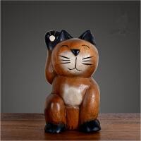 实木招财猫摆件家居装饰品摆件收银台摆设木质雕刻猫创意