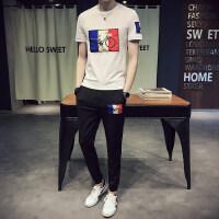 夏季男士九分裤运动套装韩版潮流小脚休闲裤贴标帅气一套夏天男装