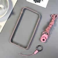日韩iphone6s手机壳苹果7plus硅胶边框6sp散热防摔保护套壳六挂绳 苹果6/6s4.7寸 粉灰拼色