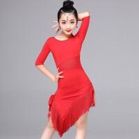 儿童拉丁舞裙演出服比赛连体新款女孩流苏款夏季女童练功表演服装