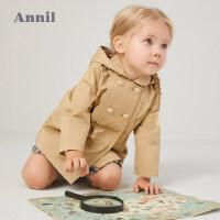 【活动价:251.4】安奈儿童装女童风衣2020春季新款女宝宝中小童卡其色休闲风衣外套