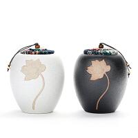 陶茶叶罐大中小陶瓷密封存储存罐茶罐子黑陶普洱茶罐