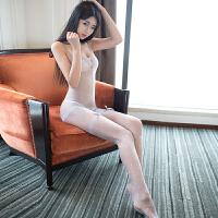 情趣内衣性感睡衣开裆连身袜立体蝴蝶结玫瑰香氛透明长丝袜 浅灰 均码