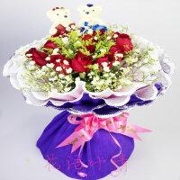 鲜花速递11支红玫瑰+2小熊 送爱人 送闺蜜 送朋友 情人节鲜花 全国同城鲜花速递 节日鲜花 生日礼品鲜花