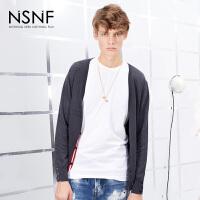 NSNF撞色条纹灰色男士开衫 2017秋冬新款