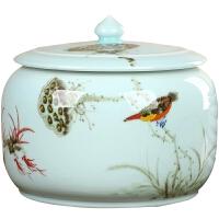 青瓷陶瓷茶叶罐大号2-3斤装普洱茶花草茶叶罐密封罐全手工存茶罐 图片色