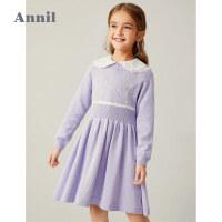 【2件4折 �A估券后�r:149】安奈�和��b女童���B衣裙�L袖2020新款女孩毛�裙冬�b加厚毛衣裙