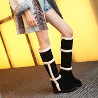 彼艾2017秋冬季韩版平跟长靴高筒靴加绒雪地靴女靴子厚底磨砂皮冬鞋女中靴