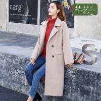 芊艺毛呢外套女中长款冬季新款韩版气质双排扣翻领双面呢子大衣