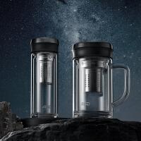 �凼诉_�k公室玻璃杯-��手柄�p�臃�C杯子大容量茶漏茶水分�x水杯350ML/430ML