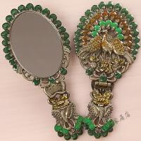 化妆镜台式公主便携手柄折叠镜子手持复古孔雀仿铜镜子
